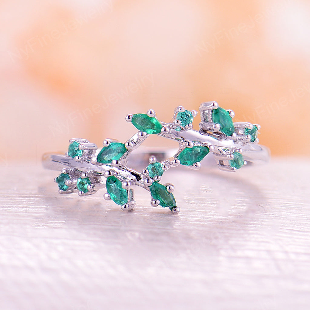 Natural Emerald engagement ring Cluster ring marquise leaf engagement ring art deco wedding unique Bridal Promise Anniversary
