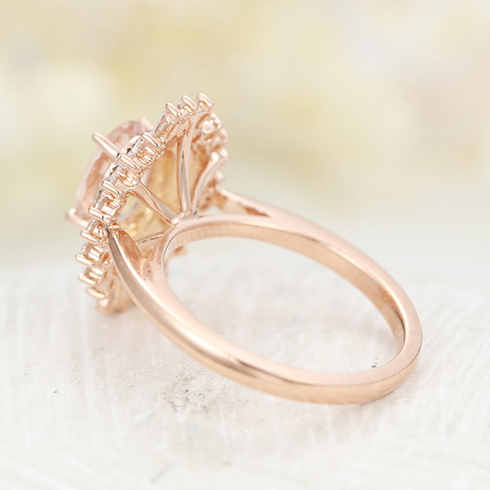 Morganite engagement ring vintage Unique engagement ring rose gold Wedding Oval Halo Flower Baguette Diamond Bridal Anniversary