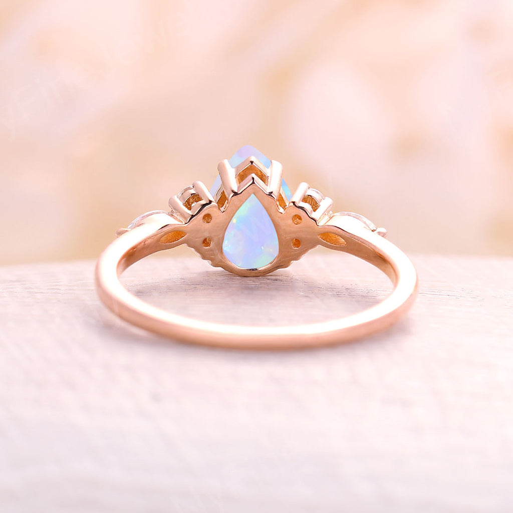 Opal engagement ring pear cut rose gold engagement ring vintage diamond cluster ring, wedding Bridal Set Jewelry Anniversary gift for women