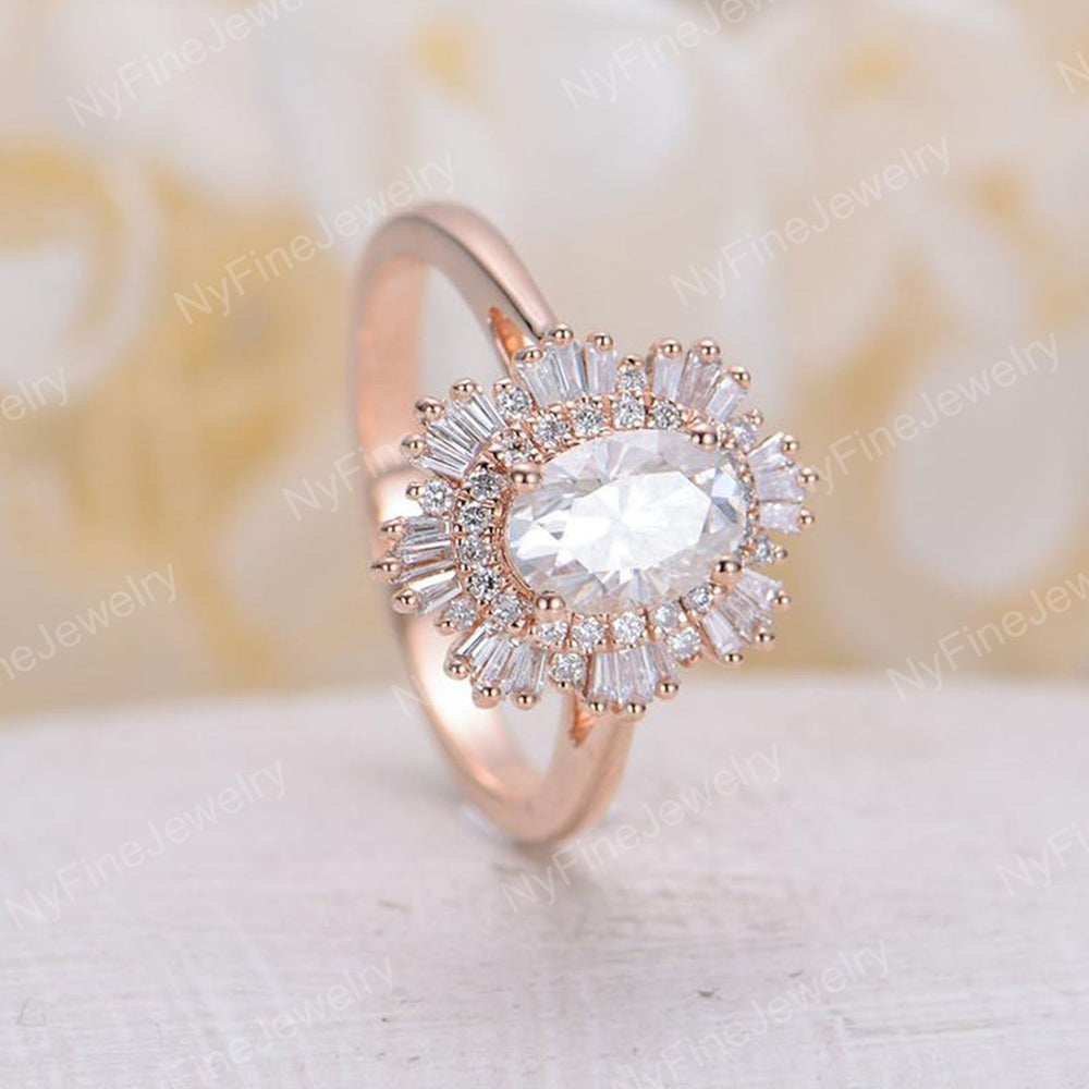 Vintage engagement ring set rose gold halo diamond moissanite Oval cut Antique wedding Unique Jewelry Anniversary Promise gift for her