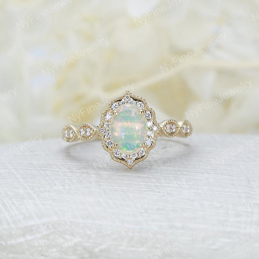 Vintage Diamond Opal Engagement Ring