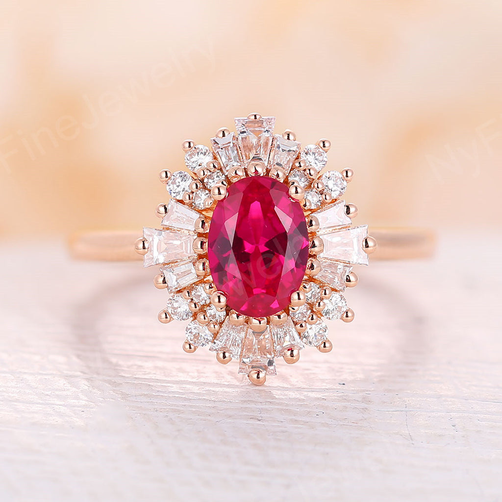 Ruby engagement ring vintage Unique art deco engagement ring for rose gold baguette Halo band Baguette stone Bridal Anniversary