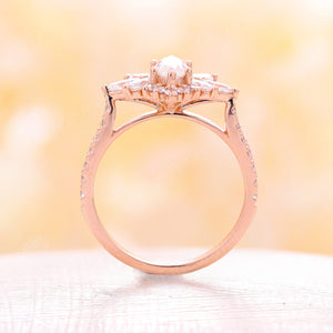 Moissanite engagement ring, vintage aart deco engagement ring,rose gold, moissanite band, marquise moissanite rings, wedding Unique Anniversary