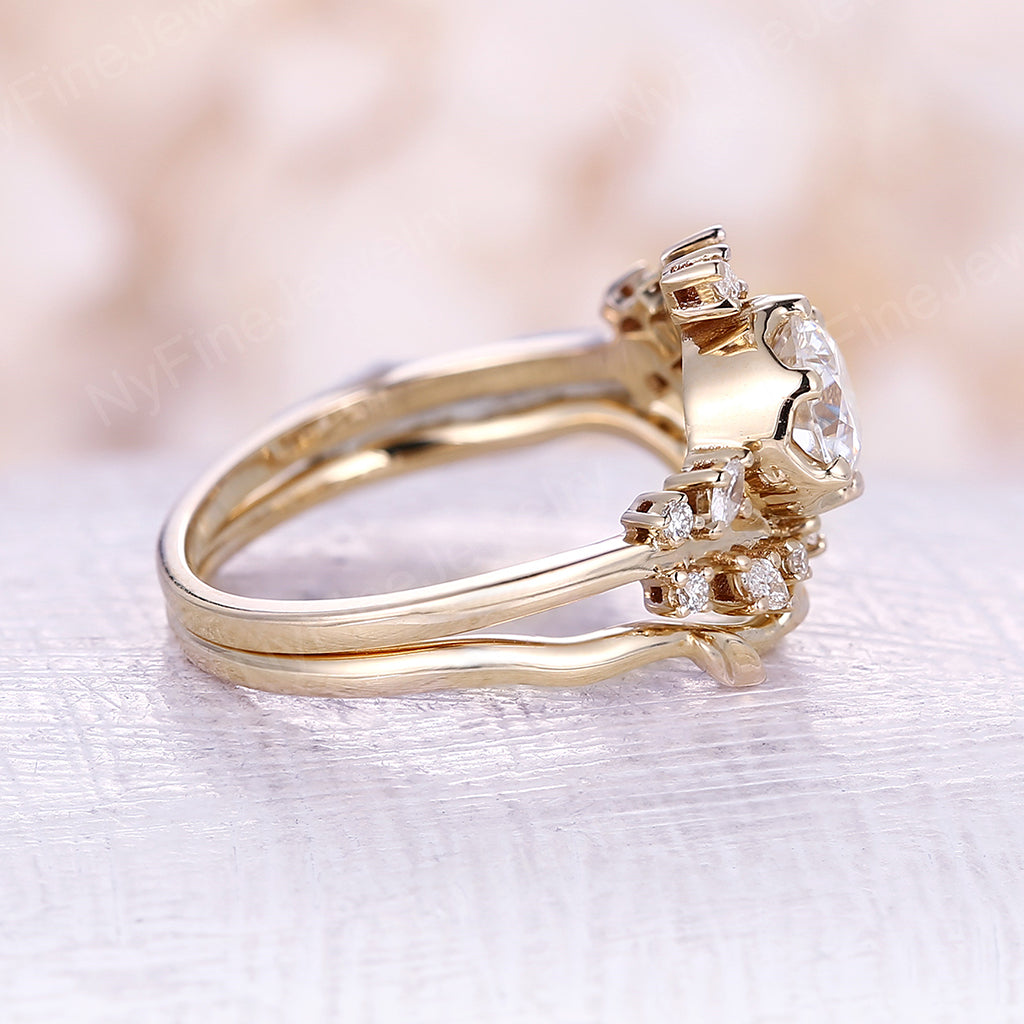 Rose gold engagement ring vintage moissanite engagement ring Diamond Cluster ring unique leaf wedding Bridal ring Promise Anniversary
