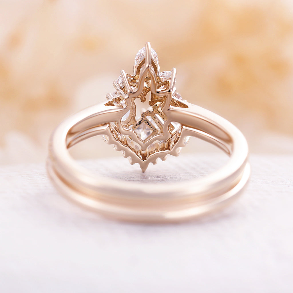 Moissanite engagement ring set Cluster ring 14K yellow Gold Baguette Pear Marquise shaped unique art deco halo ring wedding Women Bridal