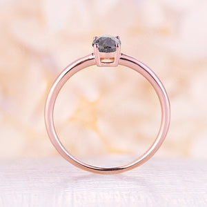 Vintage salt and pepper diamond engagement ring rose gold engagement ring diamond solitary ring wedding Bridal Anniversary ring