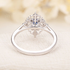 Art deco Sapphire engagement ring Vintage engagement ring White gold Unique Diamond wedding Floral Bridal Anniversary