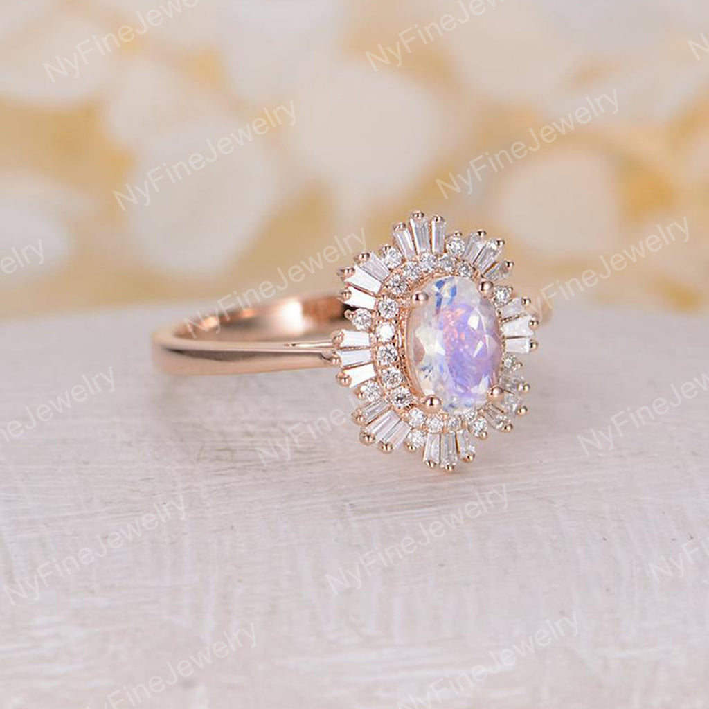 engagement ring moonstone engagement ring woman rose gold diamond Oval cut Vintage wedding Unique Jewelry Anniversary Promise gift for her