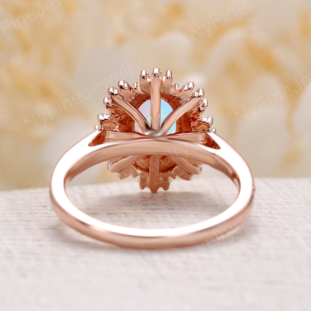 Vintage Faceted opal engagement ring 14k rose gold diamond band oval cut engagement ring wedding Anniversary