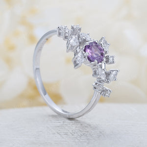 Amethyst engagement ring Diamond white gold Cluster ring Unique Delicate leaf wedding  Bridal set Promise  Anniversary Gift for her