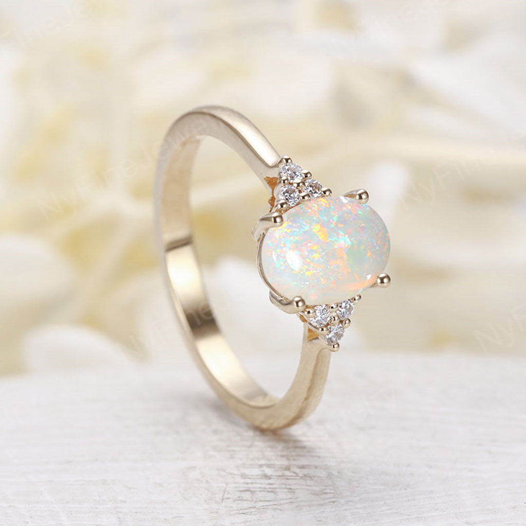 Oval opal engagement ring yellow gold Diamond cluster ring vintage Unique wedding  Bridal  Promise Anniversary