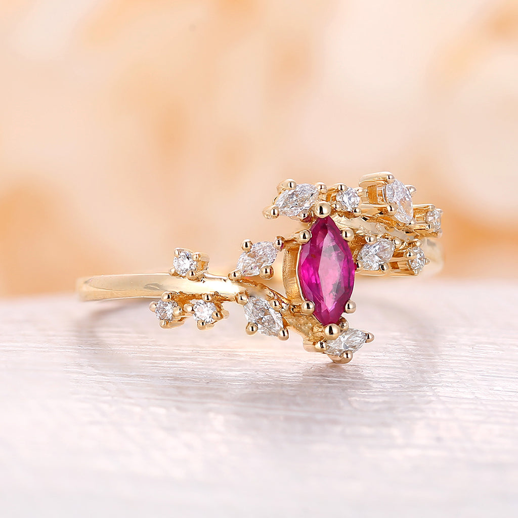 Ruby engagement ring Diamond rose gold Cluster ring marquise Unique Delicate leaf wedding Bridal Promise Anniversary Gift