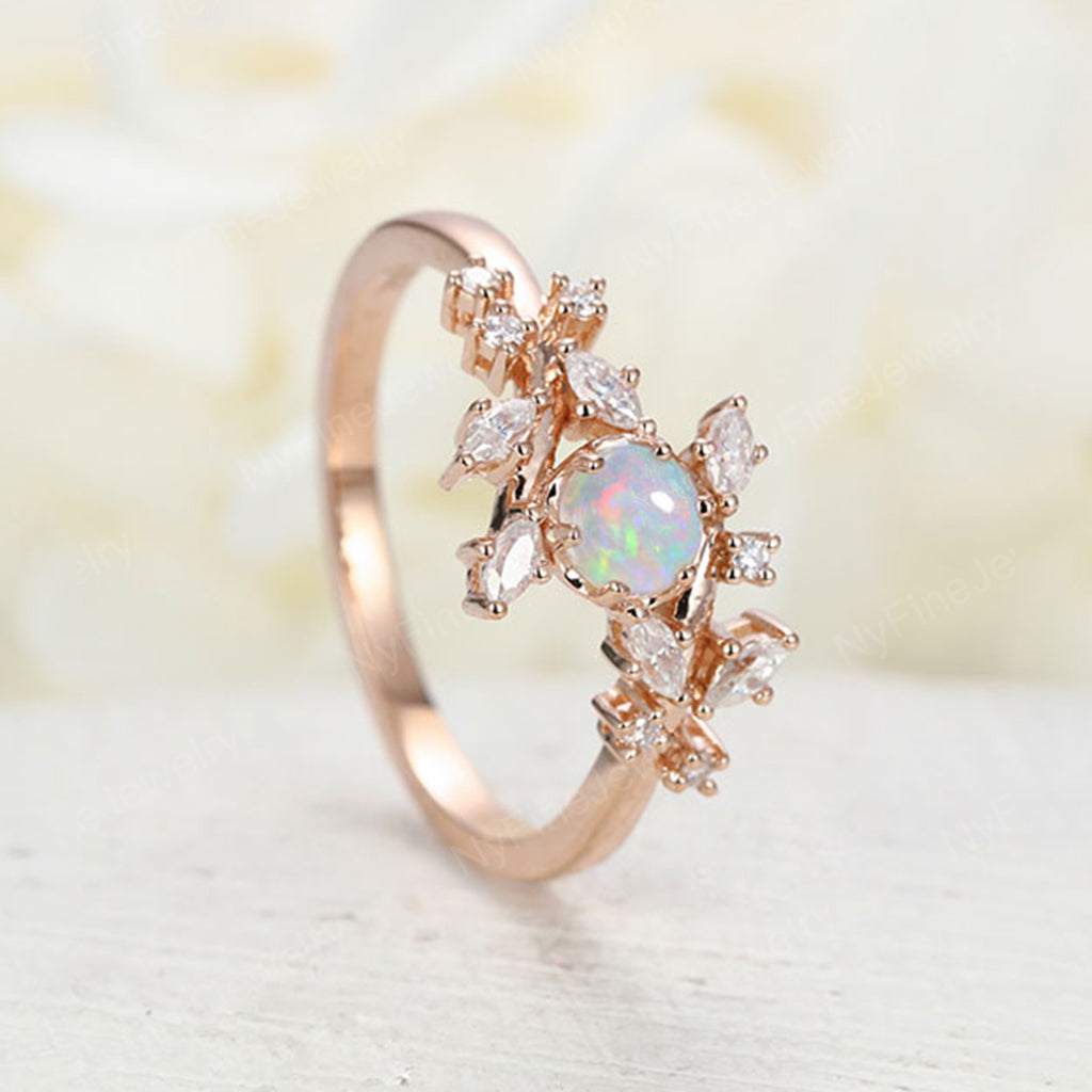 Opal engagement ring Rose gold engagement ring Diamond Cluster ring Unique Delicate leaf wedding Bridal set Promise Anniversary Gift