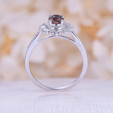 Vintage Alexandrite engagement ring 14k white gold diamond band Art deco ring wedding woman Unique Anniversary Promise