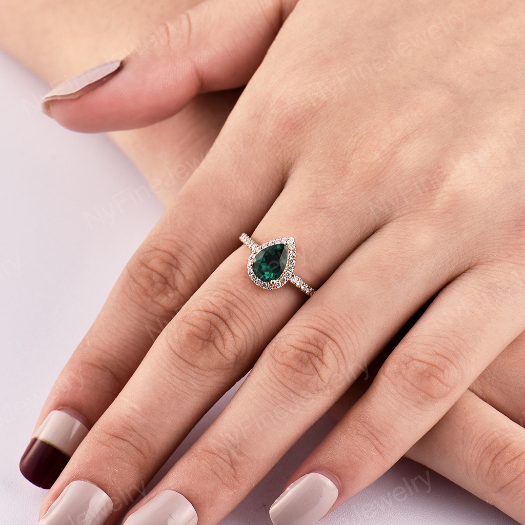 Lab Emerald engagement ring Rose gold vintage Pear shaped Delicate Halo diamond Half eternity Wedding Promise Anniversary