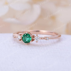 Emerald engagement ring rose gold Unique diamond Cluster ring Vintage wedding Promise Mini Bridal set Jewelry Anniversary Gift for women