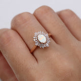 Vintage engagement ring Oval cut white opal ring 14k/18k solid gold diamond promise Anniversary ring