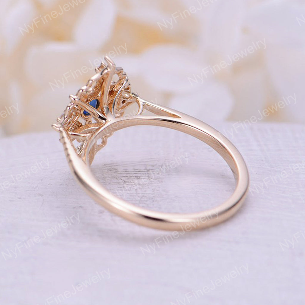 Art deco engagement ring Vintage Sapphire engagement ring rose gold Floral Unique Diamond wedding women Bridal Anniversary gift for her