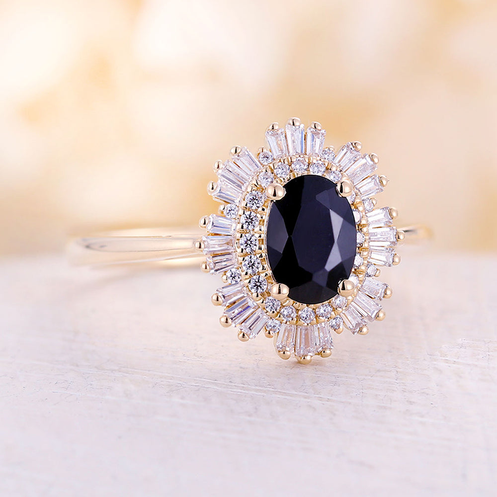 Vintage onyx engagement ring black oval onyx yellow gold diamond Art deco wedding Unique ring Anniversary Promise