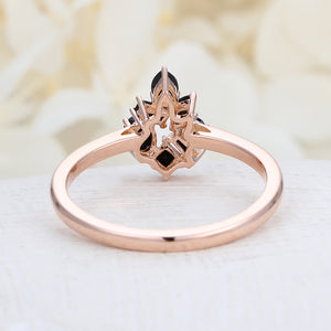 Black onyx Cluster ring Flower Unique engagement Ring rose Gold Floral Baguette Pear shaped oval Wedding Band Marquise Women Bridal