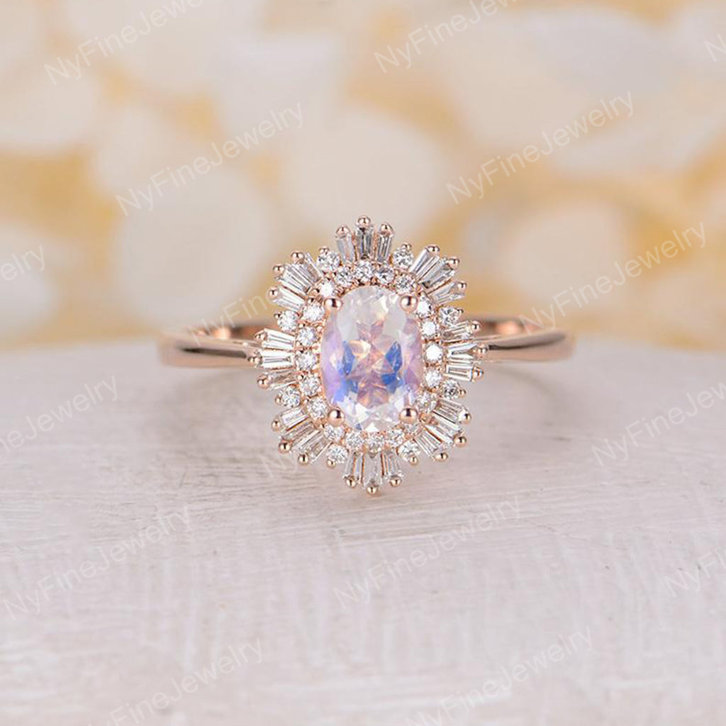 Vintage engagement ring woman rose gold halo diamond moonstone Oval cut Antique wedding Unique Jewelry Anniversary Promise gift for her