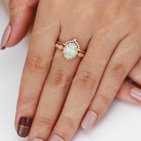 Opal engagement ring women rose gold Halo diamond vintage oval cut bridal set flower antique wedding Jewelry Anniversary gift for her