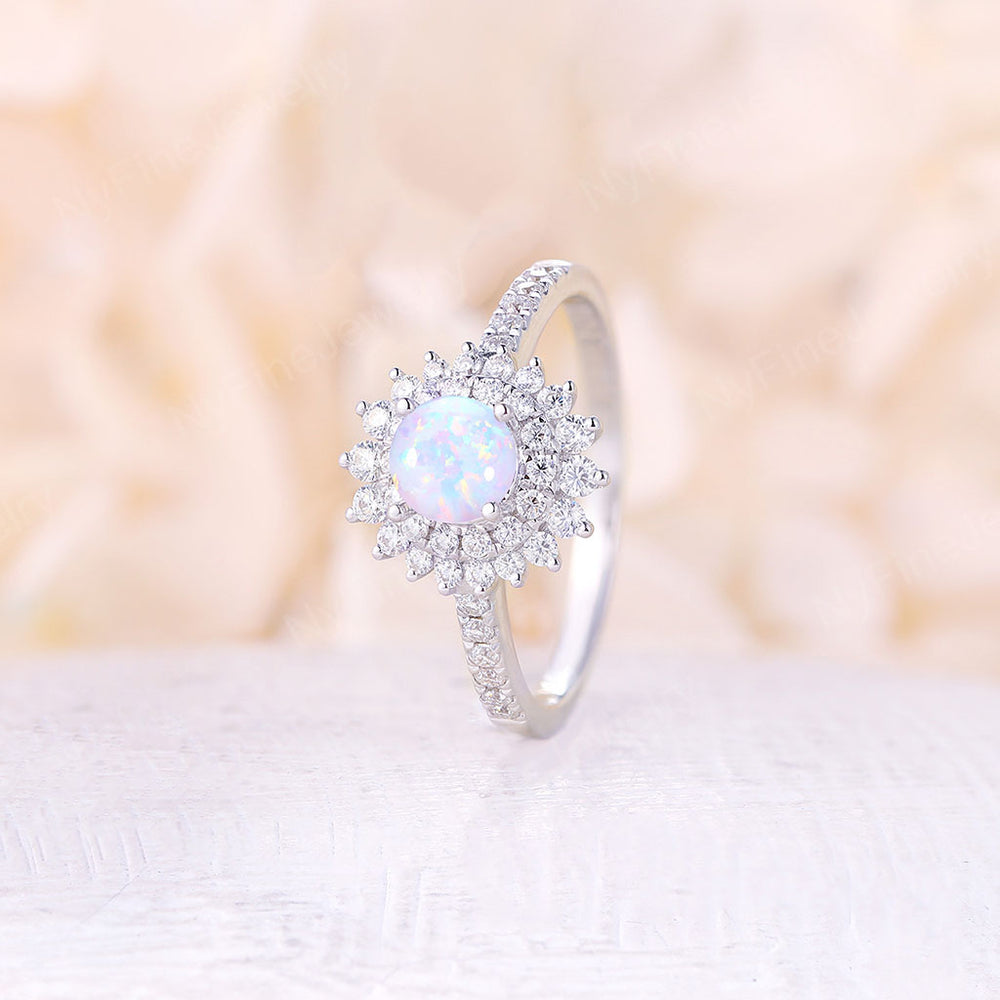 Opal engagement ring vintage round cut rose gold antique Halo Cluster wedding Flower bridal Anniversary Gift