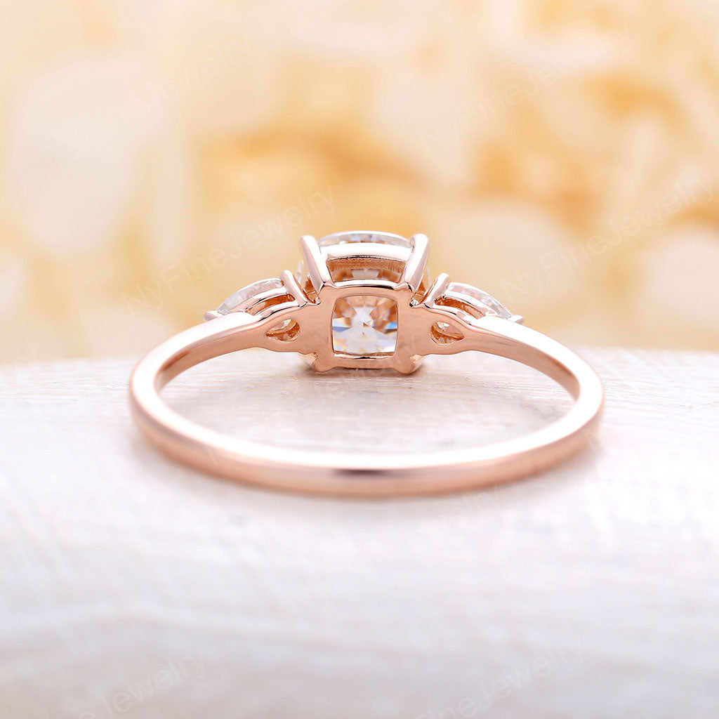 Cushion cut Moissanite Rose Gold Engagement Ring DEF pear moissanite ring Three stone wedding Four Prong set Promise Anniversary