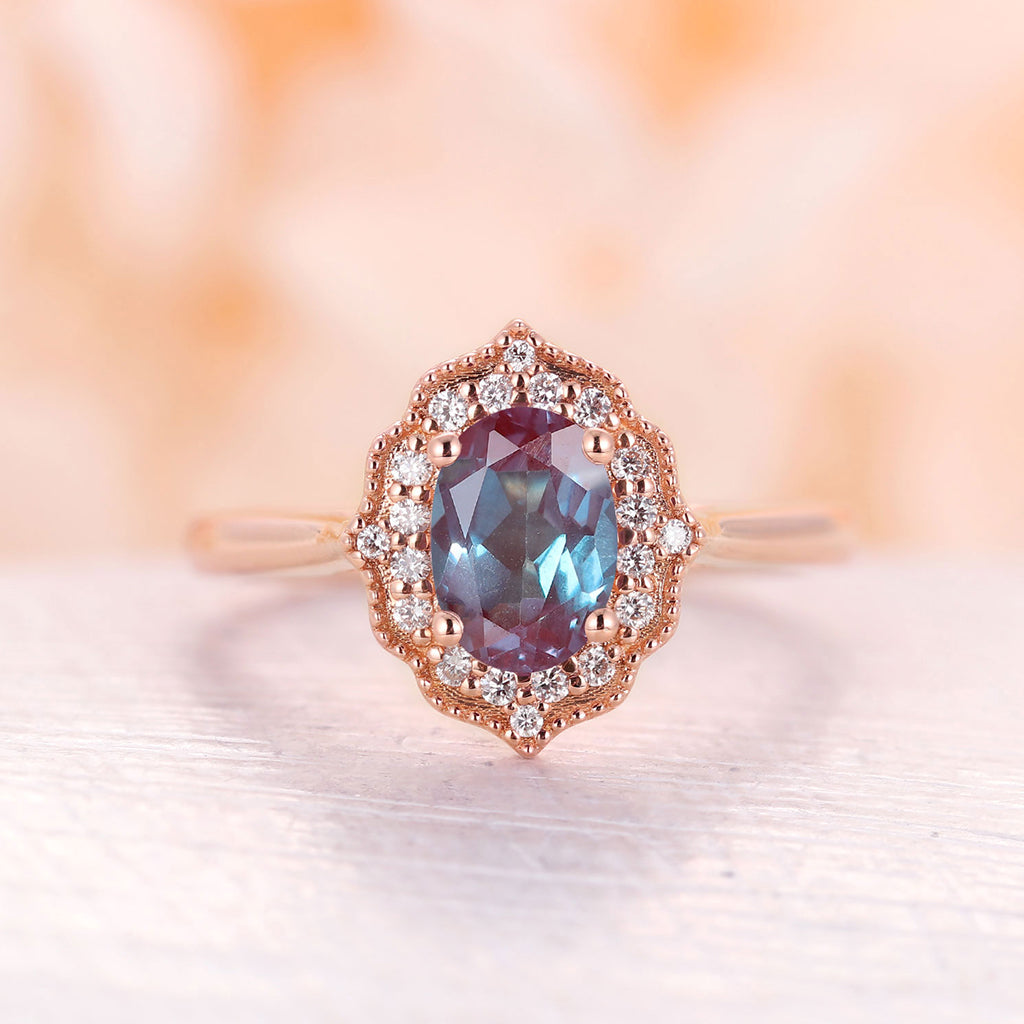 Alexandrite engagement ring 14k solid rose gold oval cut alexandrite vintage engagement ring diamond wedding band Anniversary ring