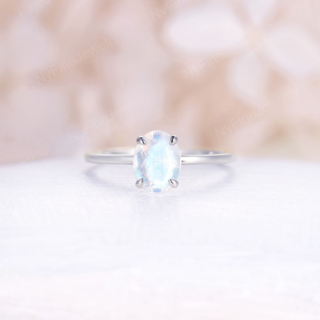 Oval Moonstone engagement ring white gold Moonstone engagement ring vintage Unique wedding Bridal Promise Anniversary