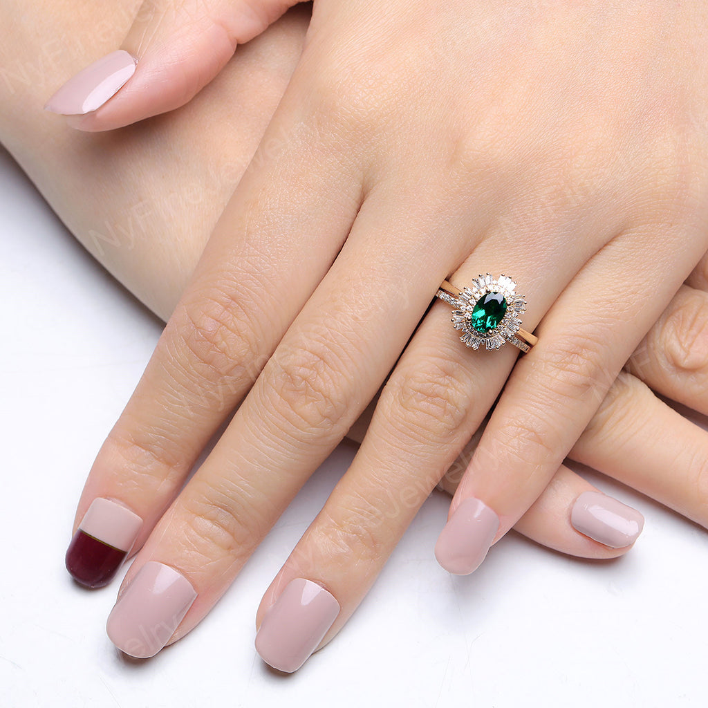 Vintage engagement ring set Oval cut Emerald ring rose gold diamond accent wedding Unique ring Anniversary Promise