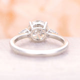 Round cut Moissanite Engagement Ring vintage ring yellow gold Three stone wedding Prong set birthstone Anniversary