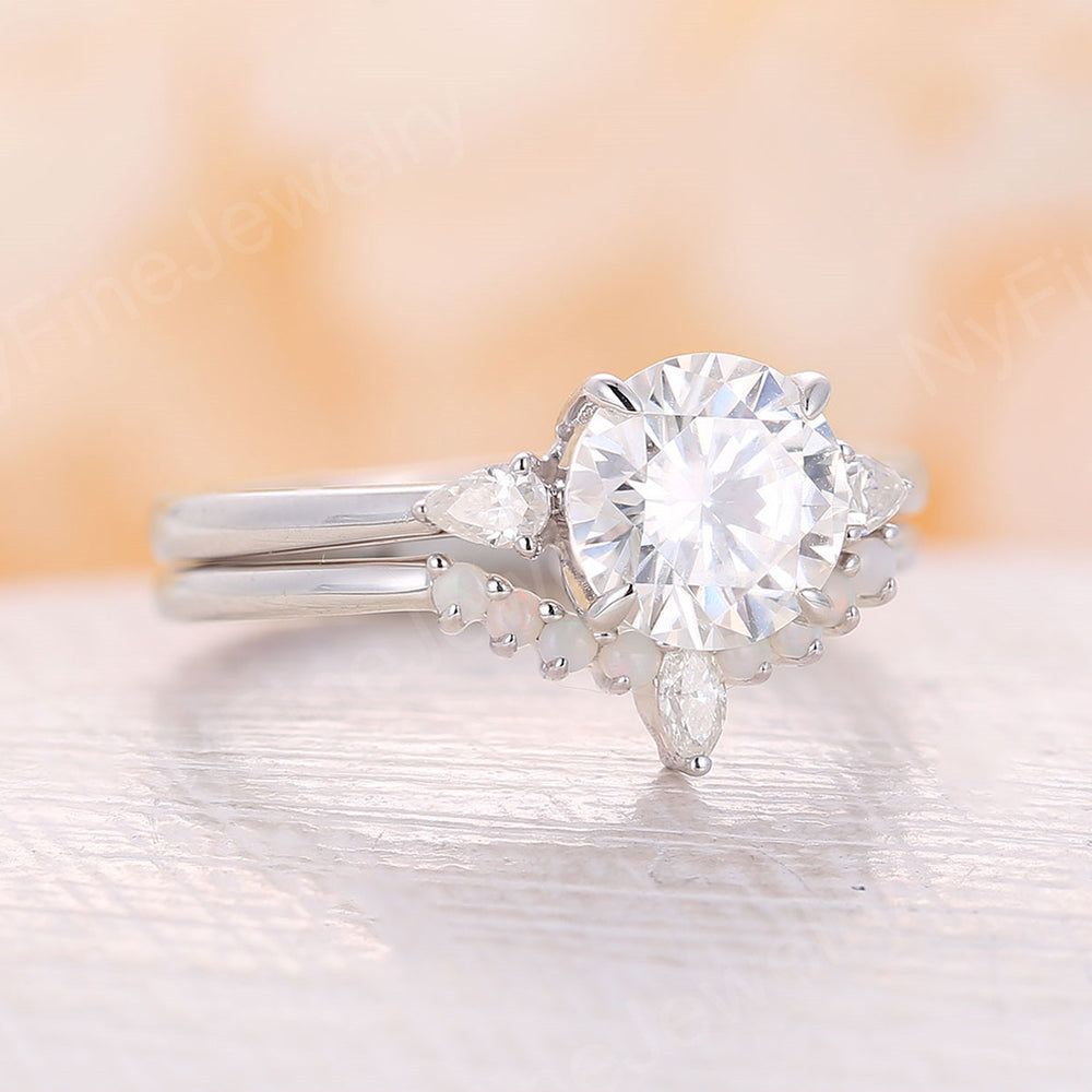 Round Moissanite Engagement Ring unique white gold moissanite ring Three stone wedding Classical Cluster Prong set Promise Anniversary gift