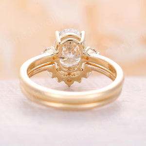 Moissanite Engagement Ring oval moissanite art deco engagement ring set yellow gold ring antique Bridal Anniversary Promise