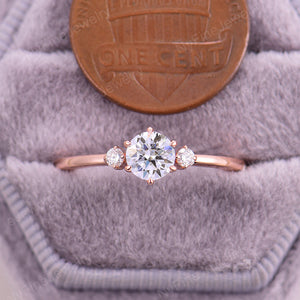 vintage engagement ring rose gold Moissanite engagement ring Vintage diamond cluster ring three stone ring wedding Promise Anniversary