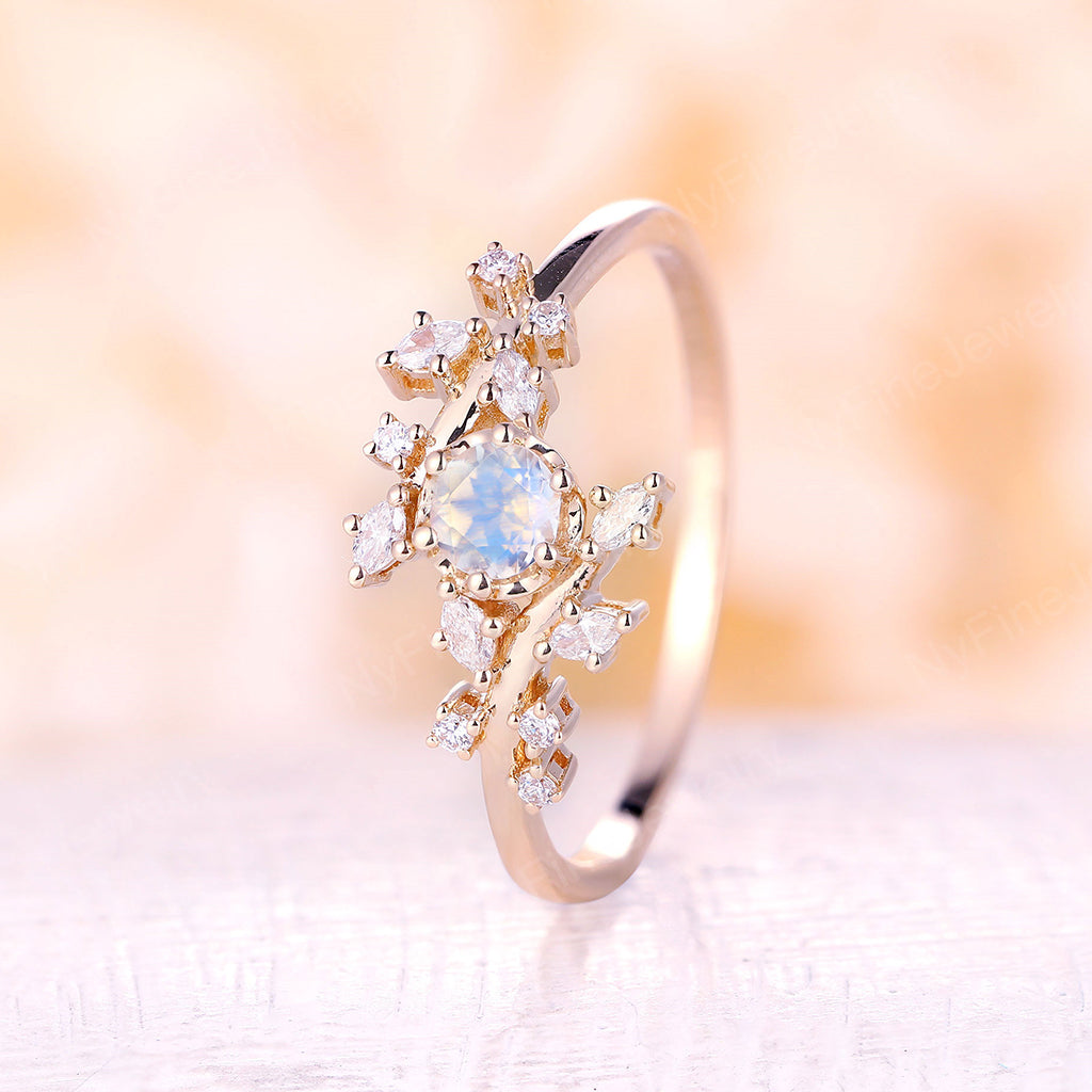 Moonstone engagement ring yellow gold engagement ring Diamond Cluster ring Unique Delicate leaf wedding Bridal set Promise Anniversary ring