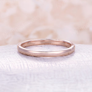 Rose gold wedding band Vintage Art deco plain band 2mm width rose gold band antique Stacking matching unique Bridal set Promise ring