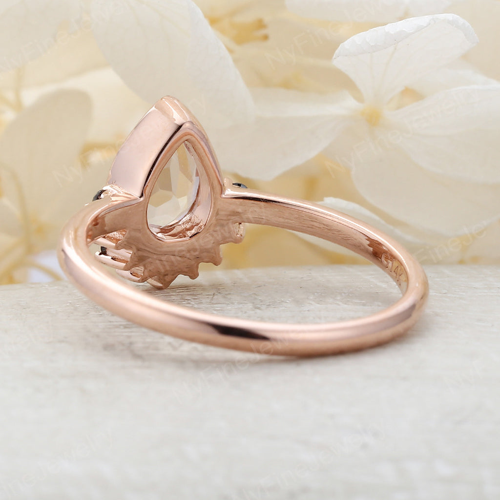 Vintage Moonstone Rose Gold black diamond Wedding women Unique engagement ring Jewelry Pear Shaped Promise Anniversary gift for her