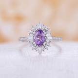 Vintage engagement ring Unique Amethyst engagement ring white gold Halo Multi Baguette diamond unique Bridal Anniversary