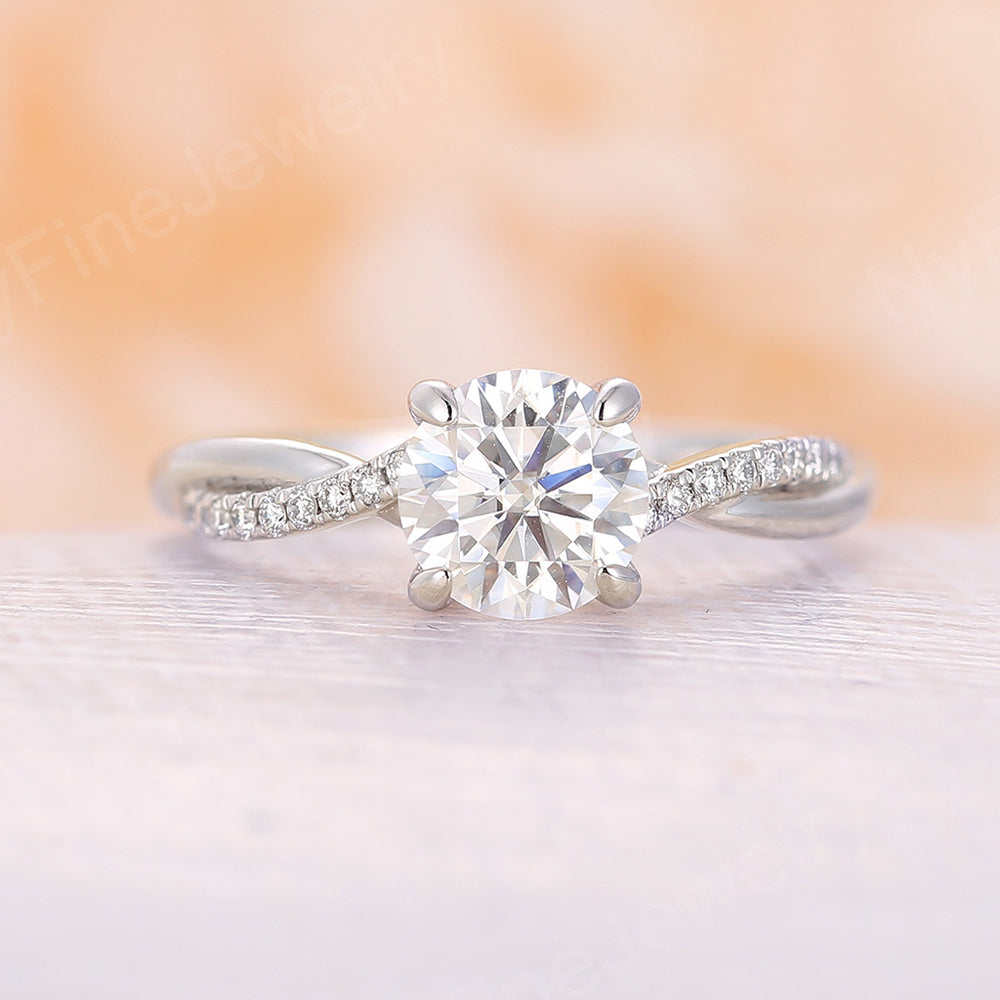 Moissanite Engagement Ring rose gold Unique Engagement Ring Vintage Diamond Wedding Twisted Bridal Anniversary Gift for Women