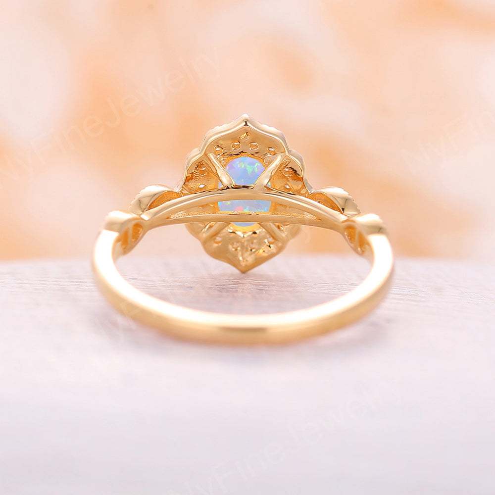 Lab Opal engagement ring rose gold engagement ring set vintage Solitaire opal ring antique wedding diamond halo unique band Anniversary gift