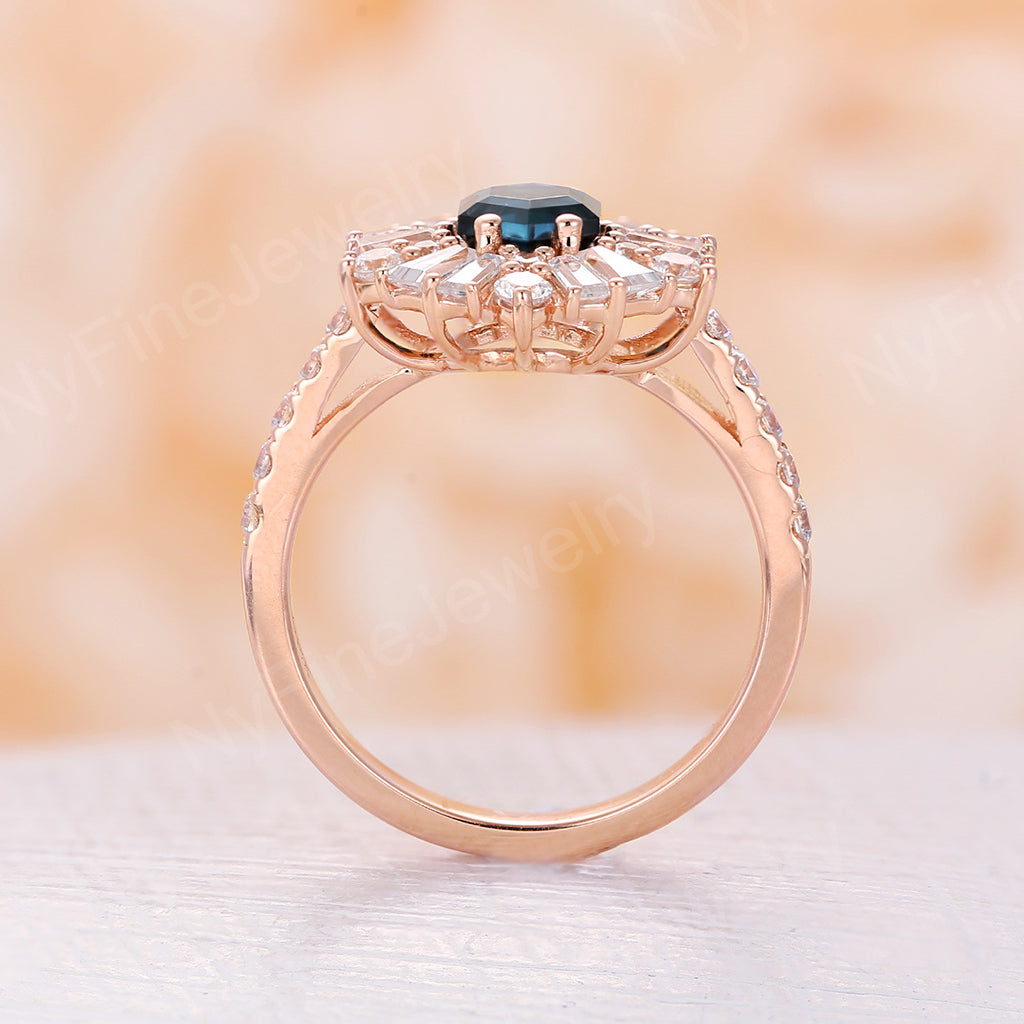 London blue topaz engagement ring vintage Art deco Unique engagement ring yellow gold wedding ring half eternity diamond Bridal Anniversary