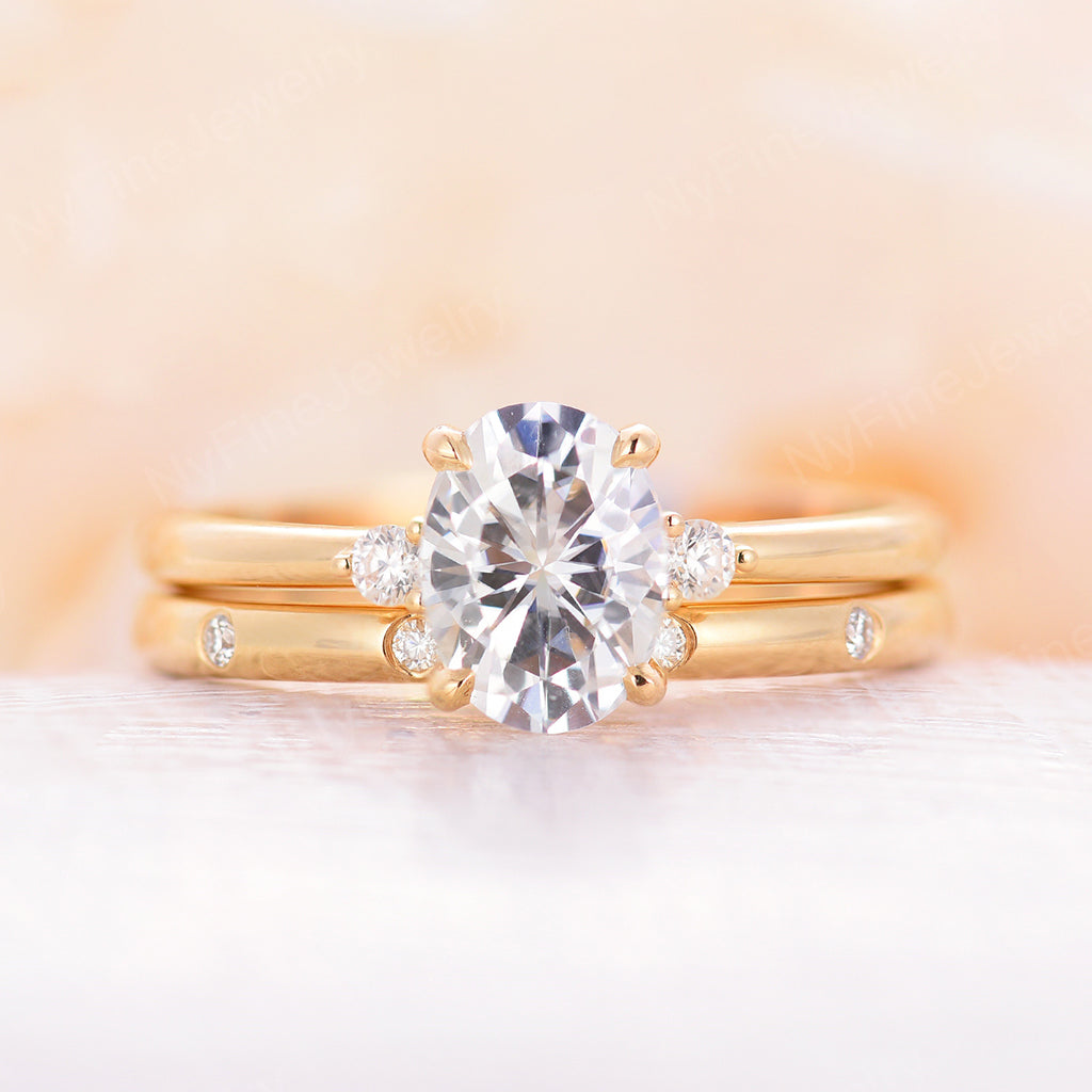 Oval Moissanite Engagement Ring yellow gold engagement ring set four prongs unique antique Cluster women Bridal ring Anniversary gift