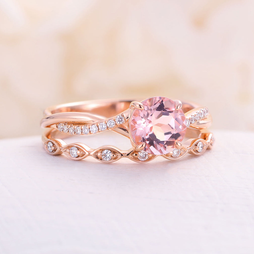 Morganite Engagement Ring 14k rose gold infinity Engagement Ring Vintage Diamond Wedding Twisted Bridal set Anniversary rings Gift for Women