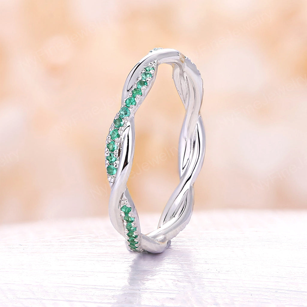 Natural emerald wedding band Infinity wedding band white gold Eternity band Twisted Delicate Unique Twining Pave Bridal Dainty Stacking