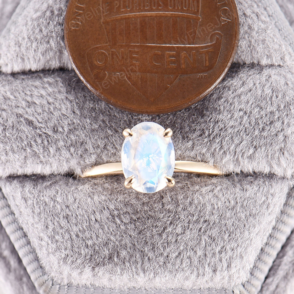 Oval Moonstone engagement ring yellow gold Moonstone engagement ring vintage Unique wedding Bridal Promise Anniversary ring