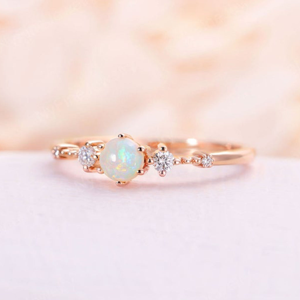 Natural opal engagement ring rose gold vintage art deco engagement ring diamond ring wedding Promise Anniversary ring