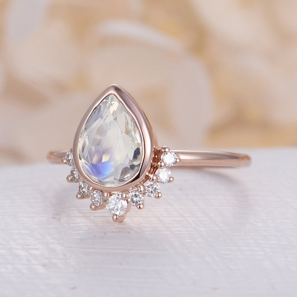 Unique Engagement Ring White Gold Moonstone engagement ring Vintage Diamond Wedding women Bridal set Jewelry Pear Shaped Promise Anniversary