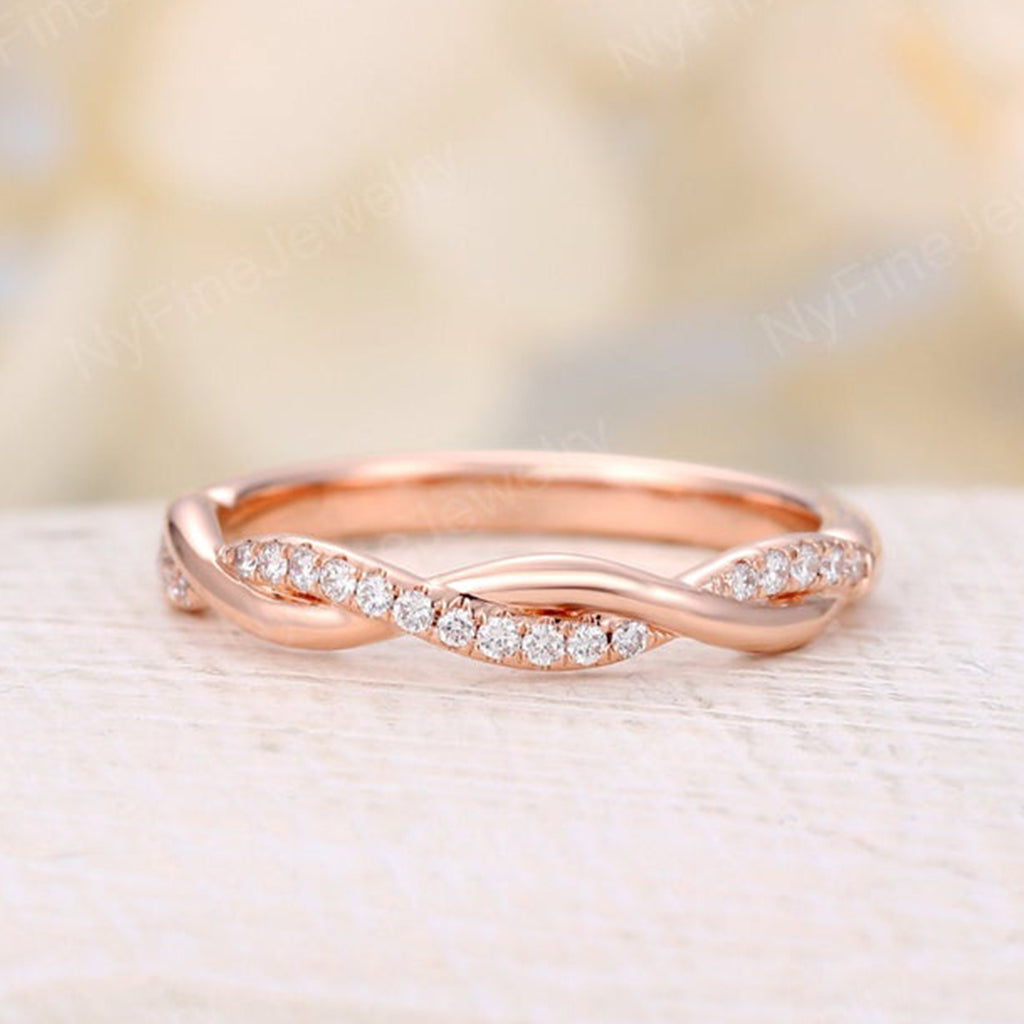 Infinity wedding band white gold diamond half cycle band Twisted Delicate Unique Twining Micro Pave Bridal Dainty Stacking Promise