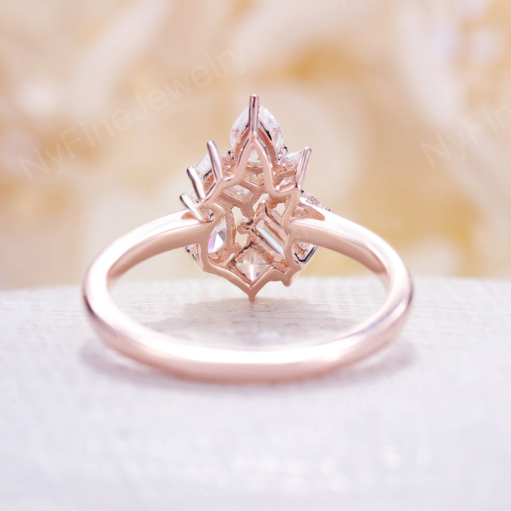 Diamond Cluster ring Flower Unique engagement Ring 14K Rose Gold Mini Gift Floral Baguette Pear shaped oval Wedding Band Marquise Women Bridal